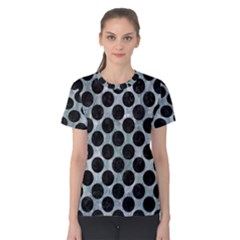 Circles2 Black Marble & Ice Crystals Women s Cotton Tee