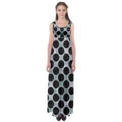 Circles2 Black Marble & Ice Crystals Empire Waist Maxi Dress