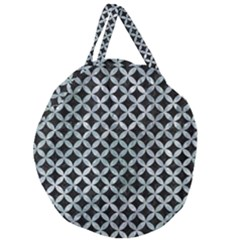 Circles3 Black Marble & Ice Crystals (r) Giant Round Zipper Tote