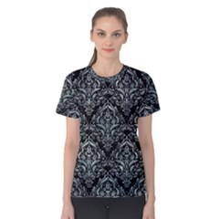 Damask1 Black Marble & Ice Crystals (r) Women s Cotton Tee
