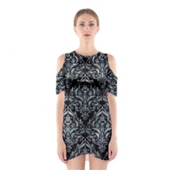 Damask1 Black Marble & Ice Crystals (r) Shoulder Cutout One Piece