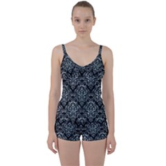Damask1 Black Marble & Ice Crystals (r) Tie Front Two Piece Tankini