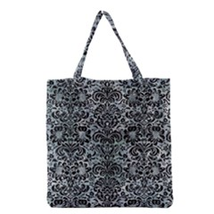 Damask2 Black Marble & Ice Crystals Grocery Tote Bag