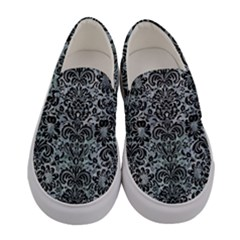 Damask2 Black Marble & Ice Crystals Women s Canvas Slip Ons