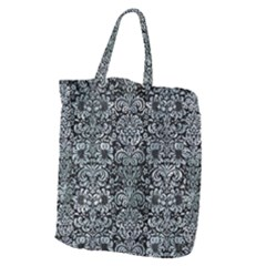 Damask2 Black Marble & Ice Crystals (r) Giant Grocery Zipper Tote