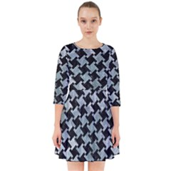 Houndstooth2 Black Marble & Ice Crystals Smock Dress