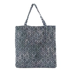 Hexagon1 Black Marble & Ice Crystals Grocery Tote Bag