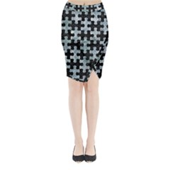 Puzzle1 Black Marble & Ice Crystals Midi Wrap Pencil Skirt