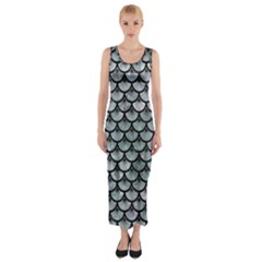 Scales3 Black Marble & Ice Crystals Fitted Maxi Dress