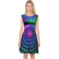 Beautiful Rainbow Marble Fractals In Hyperspace Capsleeve Midi Dress