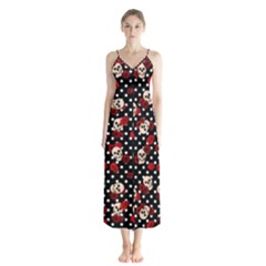 Skulls And Roses Button Up Chiffon Maxi Dress