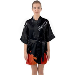 Castil Witch Hlloween Sinister Night Home Bats Quarter Sleeve Kimono Robe