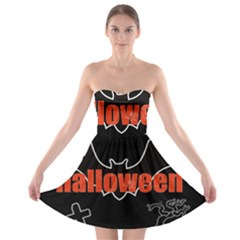Halloween Bat Black Night Sinister Ghost Strapless Bra Top Dress