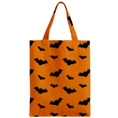 Halloween Bat Animals Night Orange Zipper Classic Tote Bag
