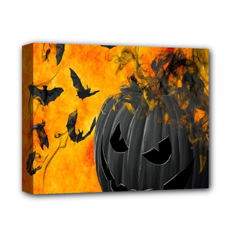 Halloween Pumpkin Bat Ghost Orange Black Smile Deluxe Canvas 14  X 11