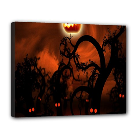Halloween Pumpkins Tree Night Black Eye Jungle Moon Canvas 14  X 11