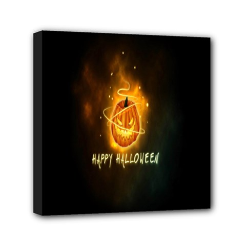 Happy Halloween Pumpkins Face Smile Face Ghost Night Mini Canvas 6  X 6