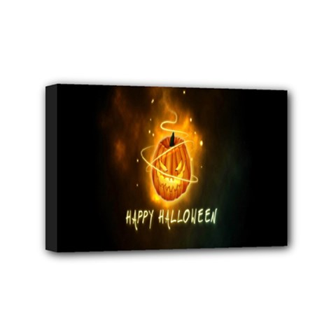 Happy Halloween Pumpkins Face Smile Face Ghost Night Mini Canvas 6  X 4