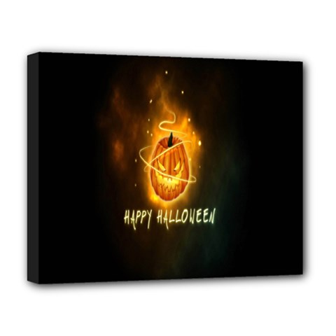 Happy Halloween Pumpkins Face Smile Face Ghost Night Deluxe Canvas 20  X 16