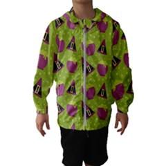 Hat Formula Purple Green Polka Dots Hooded Wind Breaker (kids)