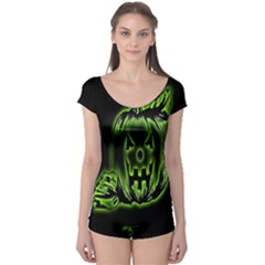 Pumpkin Black Halloween Neon Green Face Mask Smile Boyleg Leotard