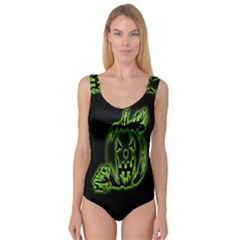 Pumpkin Black Halloween Neon Green Face Mask Smile Princess Tank Leotard