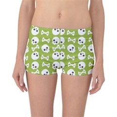 Skull Bone Mask Face White Green Reversible Boyleg Bikini Bottoms