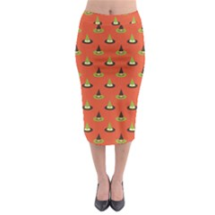 Hat Wicked Witch Ghost Halloween Red Green Black Midi Pencil Skirt