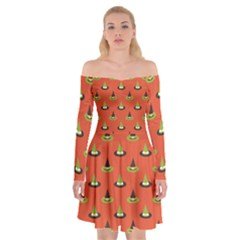 Hat Wicked Witch Ghost Halloween Red Green Black Off Shoulder Skater Dress