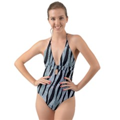 Skin3 Black Marble & Ice Crystals Halter Cut Out One Piece Swimsuit