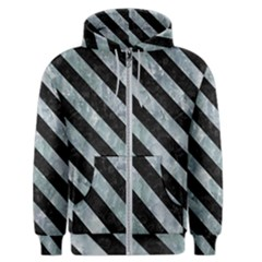 Stripes3 Black Marble & Ice Crystals Men s Zipper Hoodie