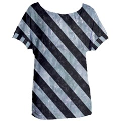 Stripes3 Black Marble & Ice Crystals Women s Oversized Tee