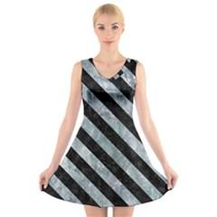 Stripes3 Black Marble & Ice Crystals V Neck Sleeveless Skater Dress
