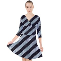 Stripes3 Black Marble & Ice Crystals (r) Quarter Sleeve Front Wrap Dress