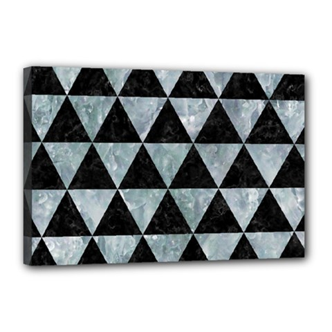 Triangle3 Black Marble & Ice Crystals Canvas 18  X 12