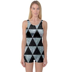 Triangle3 Black Marble & Ice Crystals One Piece Boyleg Swimsuit