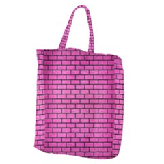 Brick1 Black Marble & Pink Brushed Metal Giant Grocery Zipper Tote