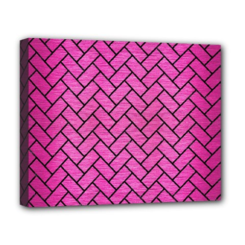 Brick2 Black Marble & Pink Brushed Metal Deluxe Canvas 20  X 16