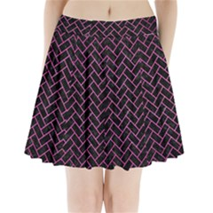 Brick2 Black Marble & Pink Brushed Metal (r) Pleated Mini Skirt