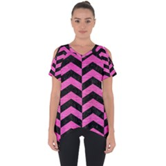 Chevron2 Black Marble & Pink Brushed Metal Cut Out Side Drop Tee