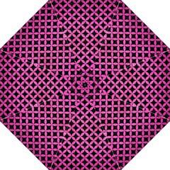 Circles3 Black Marble & Pink Brushed Metal (r) Golf Umbrellas