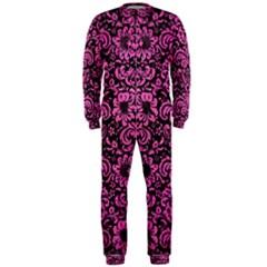 Damask2 Black Marble & Pink Brushed Metal (r) Onepiece Jumpsuit (men)