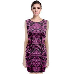 Damask2 Black Marble & Pink Brushed Metal (r) Classic Sleeveless Midi Dress