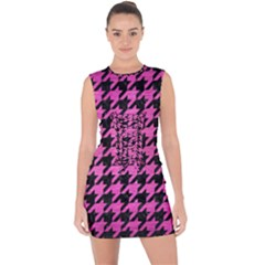 Houndstooth1 Black Marble & Pink Brushed Metal Lace Up Front Bodycon Dress