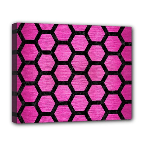 Hexagon2 Black Marble & Pink Brushed Metal Deluxe Canvas 20  X 16