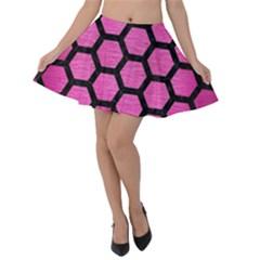 Hexagon2 Black Marble & Pink Brushed Metal Velvet Skater Skirt