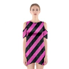 Stripes3 Black Marble & Pink Brushed Metal (r) Shoulder Cutout One Piece