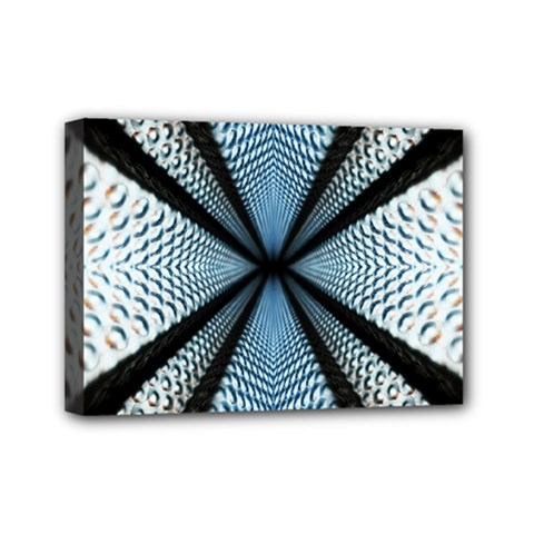6th Dimension Metal Abstract Obtained Through Mirroring Mini Canvas 7  X 5