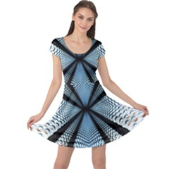 6th Dimension Metal Abstract Obtained Through Mirroring Cap Sleeve Dress