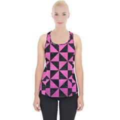 Triangle1 Black Marble & Pink Brushed Metal Piece Up Tank Top